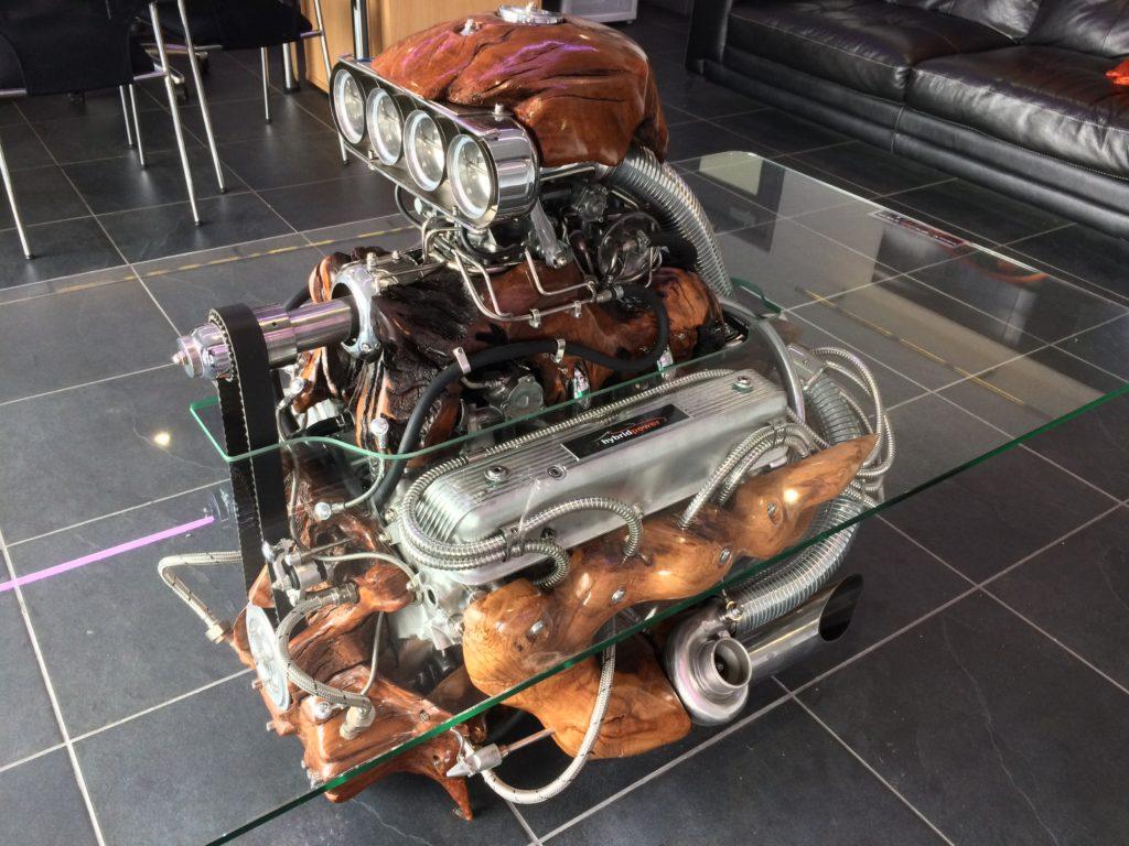 Luke Kite Engine sculpture at Sportscarhire